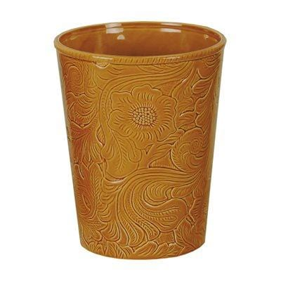 Savannah Ceramic Bathroom Wastebasket, Mustard