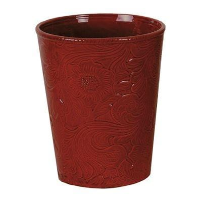 Savannah Ceramic Bathroom Wastebasket, Red