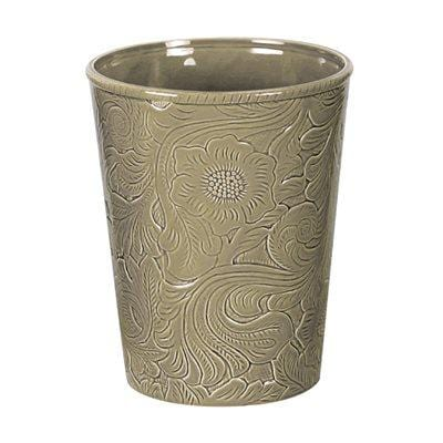 Savannah Ceramic Bathroom Wastebasket, Taupe