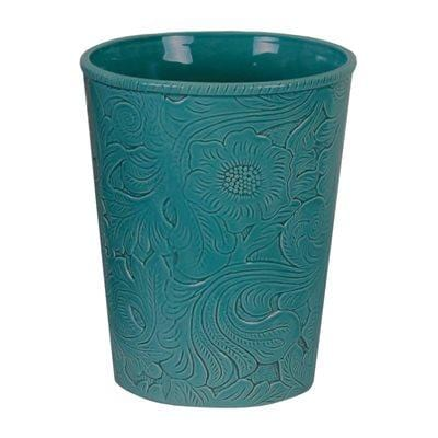 Savannah Ceramic Bathroom Wastebasket, Turquoise