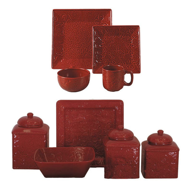 Savannah Red 21-PC Dinnerware and Canister Set
