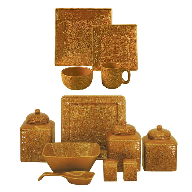Savannah Mustard 24 PC Western Dinnerware and Canister Set