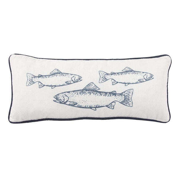 School Of Trouts Lumbar Pillow w/ Blue Piping