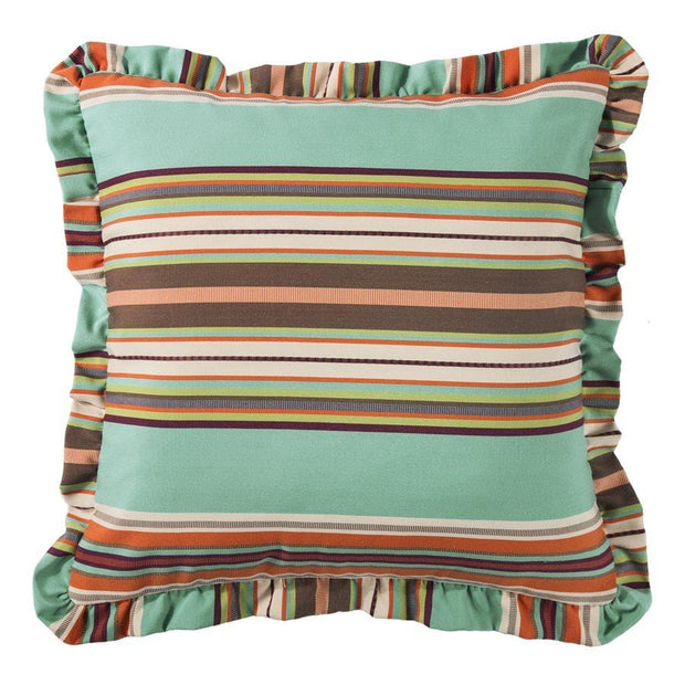 Serape Euro Sham w/ Ruffles - Turquoise, Orange & Brown