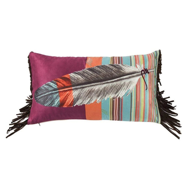 Serape Feather Pillow w/ Embroidery Details, 12x24