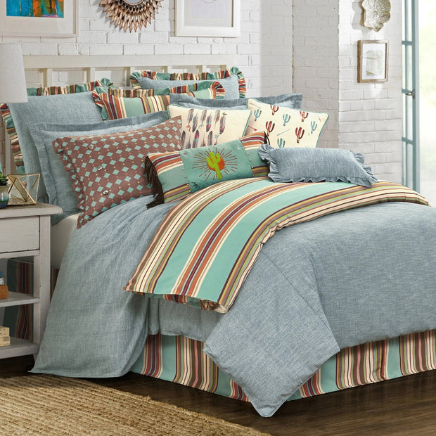 "Serape Southwest Turquoise Bedskirt (16""/18"" Drop)-Bed Skirt-HiEnd Accents"