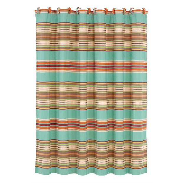 Serape Southwestern Shower Curtain, Turquoise Stripe