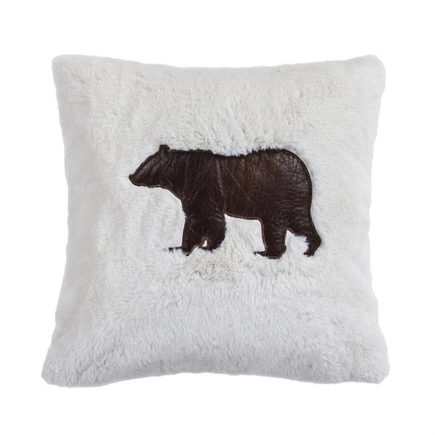 Shearling Throw Pillow w/ Embroidered Bear, 18x18