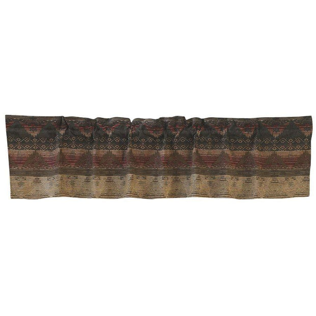 Sierra Lodge-Style Kitchen Valance - Brown, Red & Tan