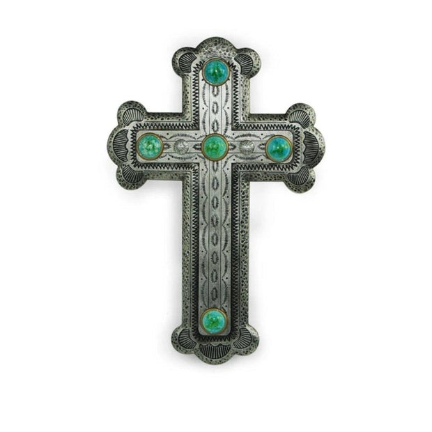 Silver Spanish-Style Cross Wall Decor w/ Turquoise Stones