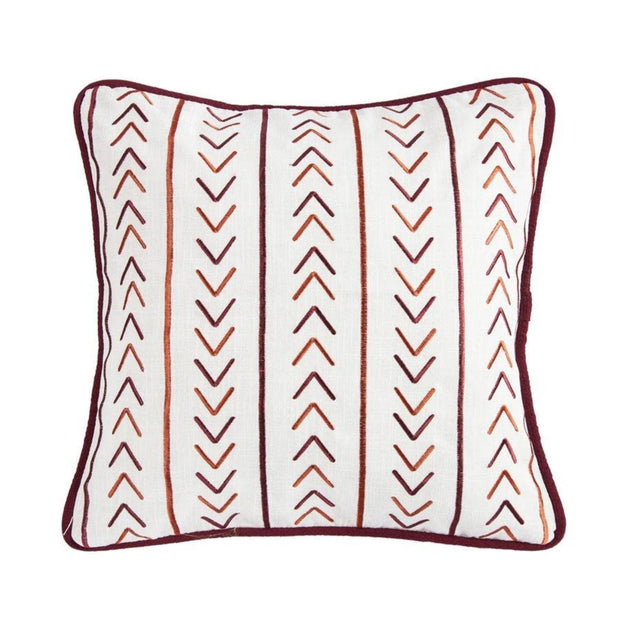Solace Embroidered Throw Pillow w/ Stripes