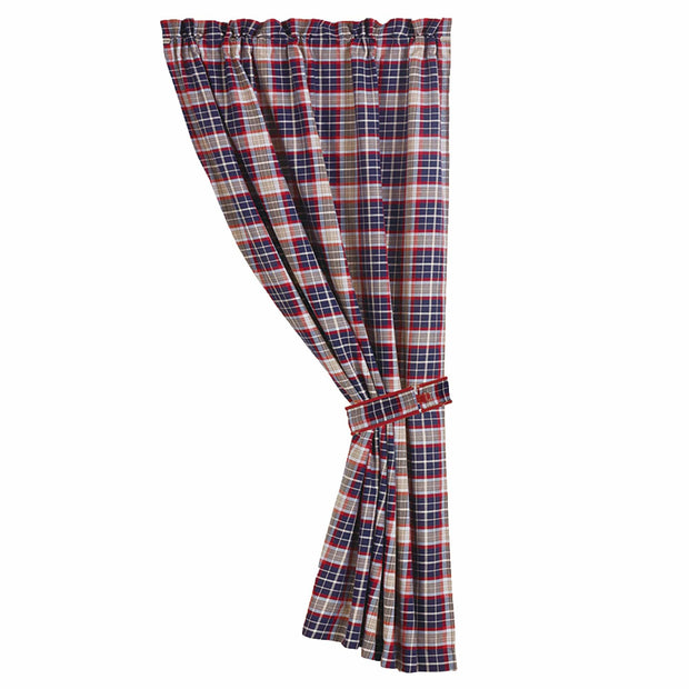 Blue plaid curtain with tieback, 48x84