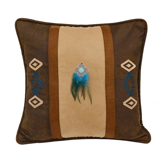 Tan & Turquoise Accent Pillow w/ Feathers