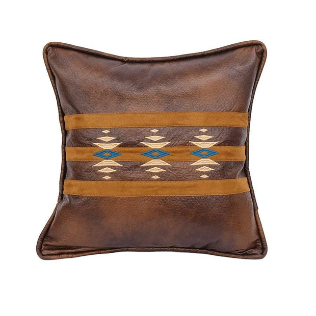 Faux Leather Throw Pillow w/ Geometric Embroidery
