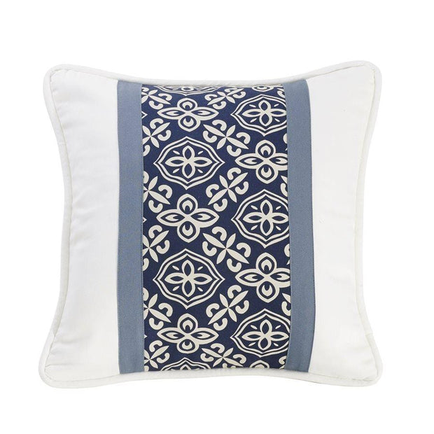 St. Clair Paneled Navy Blue Throw Pillow