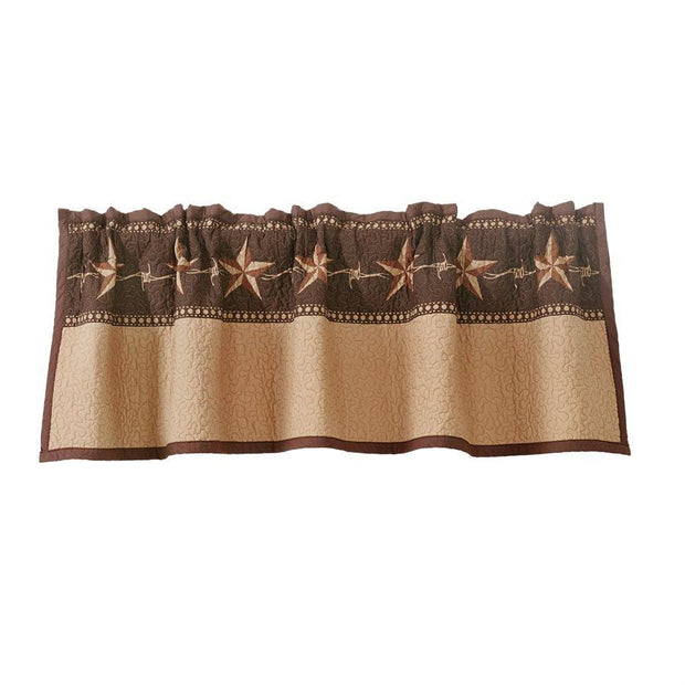 Star Ranch Tan & Chocolate Quilted Kitchen Valance