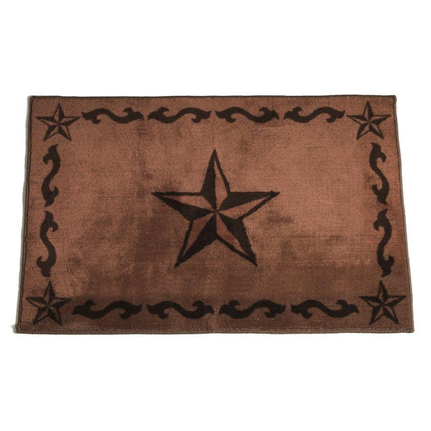 Star w/ Scroll Motif Kitchen/Bath Rug - Chocolate