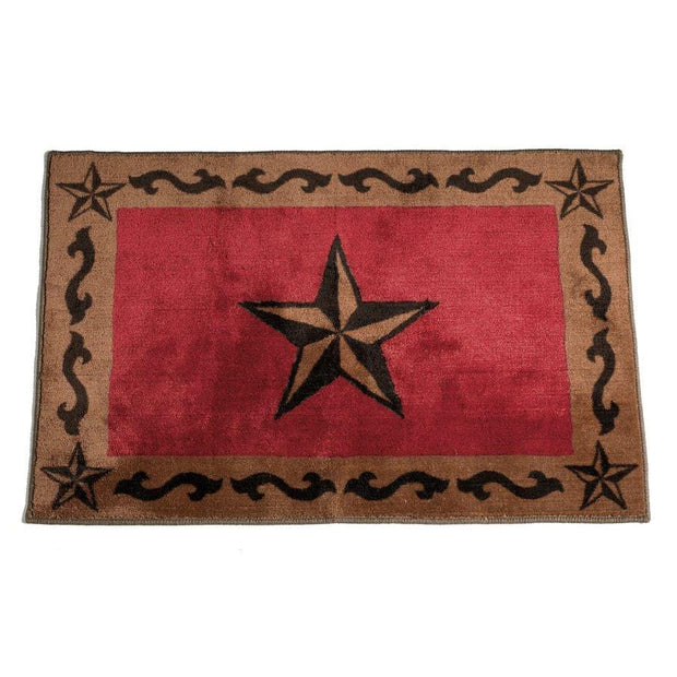Star w/ Scroll Motif Kitchen/Bath Rug - Red