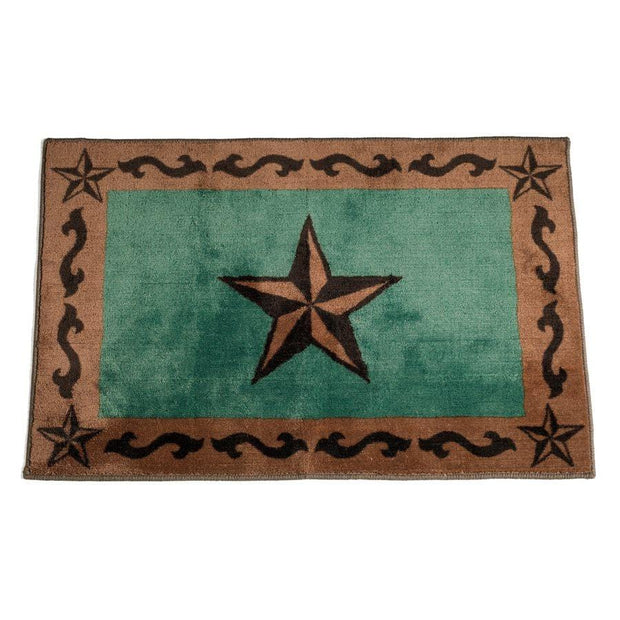 Star w/ Scroll Motif Kitchen/Bath Rug - Turquoise