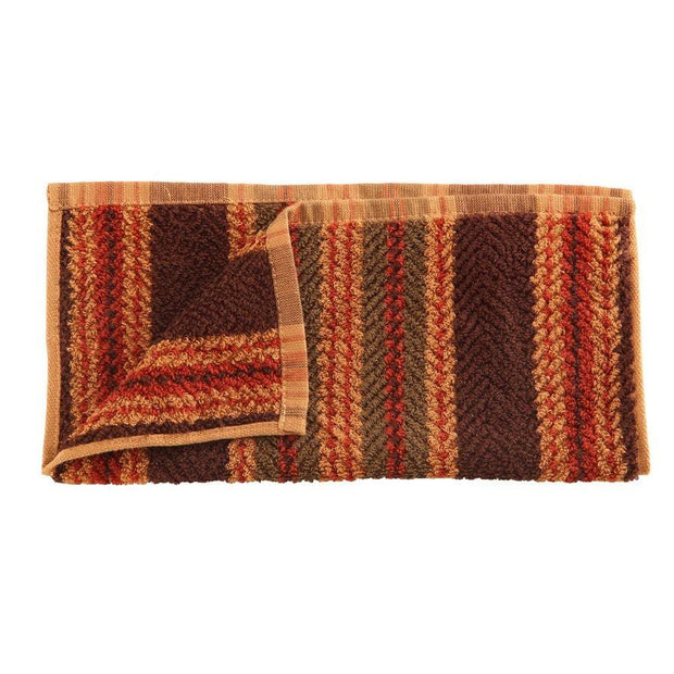 "Striped Wash Cloth, Green, Red, Tan & Brown, 12"" x 12"""