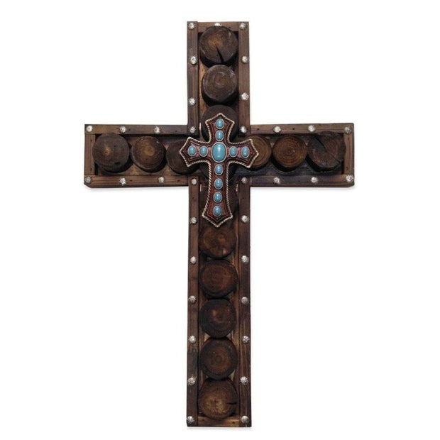 Studded Wood & Turquoise Cross Wall Decor