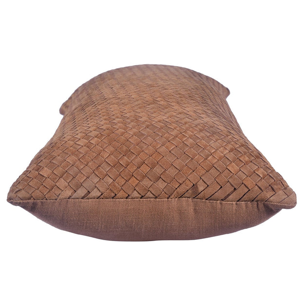 Suede Basket Weave Long Lumbar Pillow, 14x30