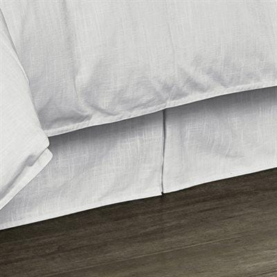 "Tailored White Linen Bed Skirt, 18"" Drop (Queen/King)-Bed Skirt-HiEnd Accents"