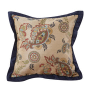 Tammy Western Paisley Throw Pillow, Navy Flange