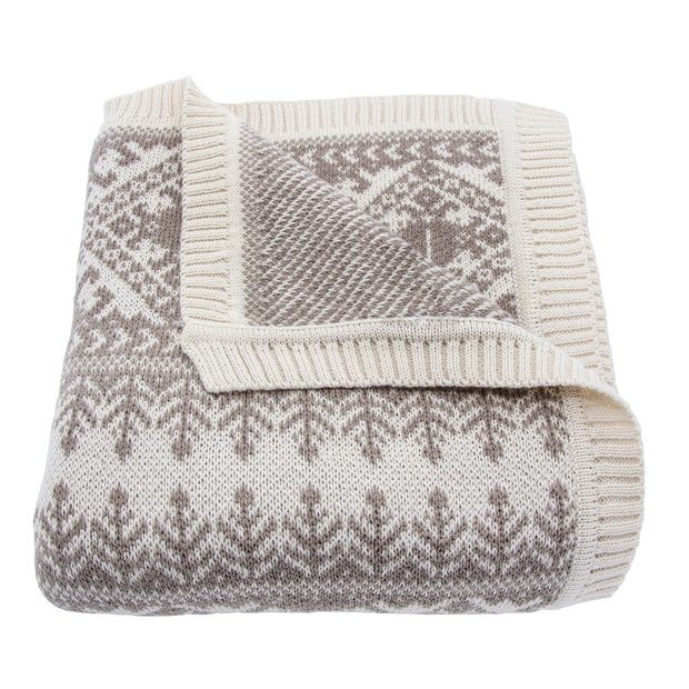 Fair Isle Taupe Knit Throw Blanket