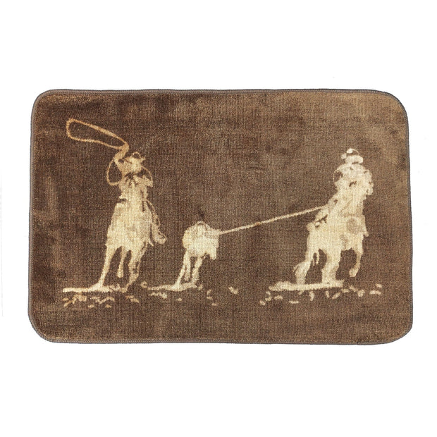 Team Roping Dark Chocolate Kitchen/Bath Rug