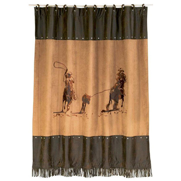 Team Roping Shower Curtain, Cowboy Motif