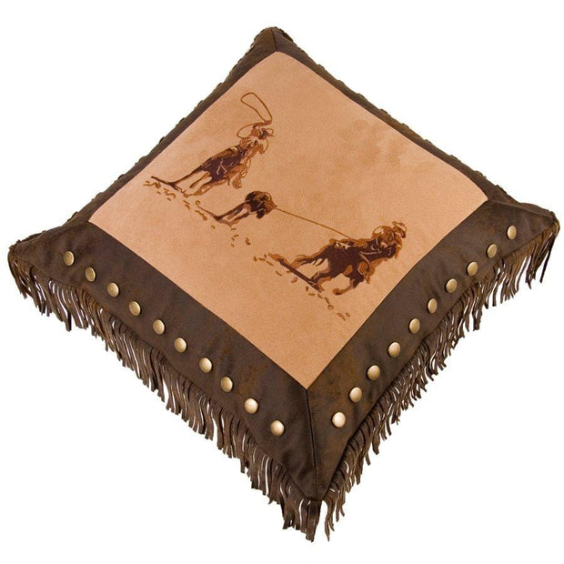 Team Roping Western Throw Pillow w/ Studs & Fringe