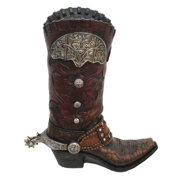 Tooled Leather Design (Resin) Cowboy Boot Vase w/ Metal Flower