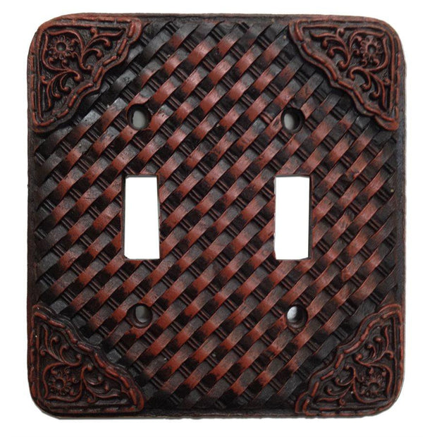 Tooled Resin Weaver Double Switch Wall Plate