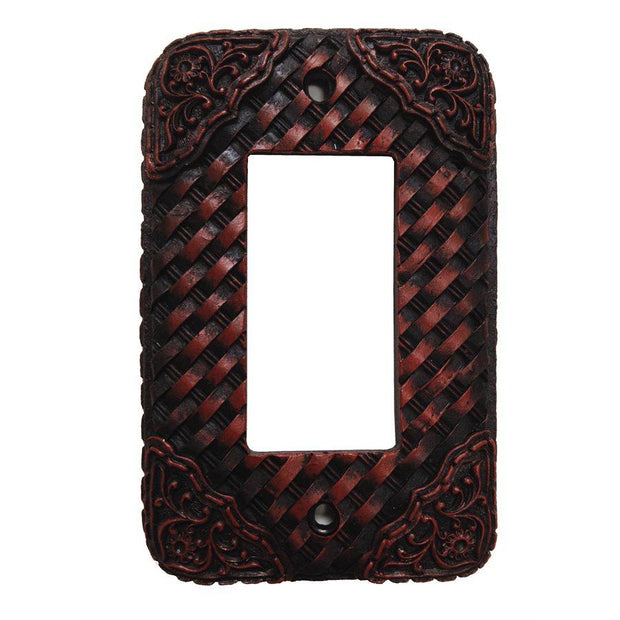 Tooled Resin Weaver Single Rocker Wall Switch Plate