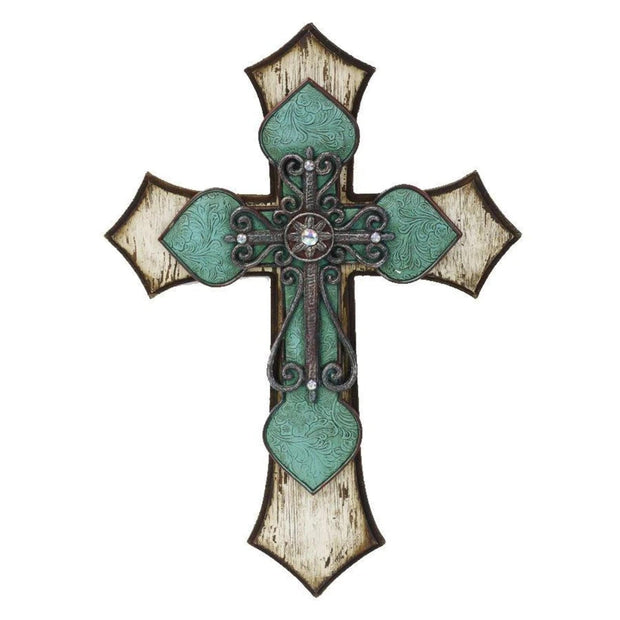 Triple-Layer Turquoise Cross Wall Decor w/ Metal Scrollwork