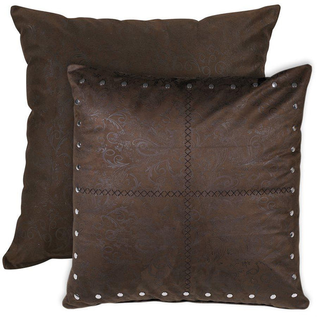 Tucson Chocolate Studded Leather Euro Sham - Reversible