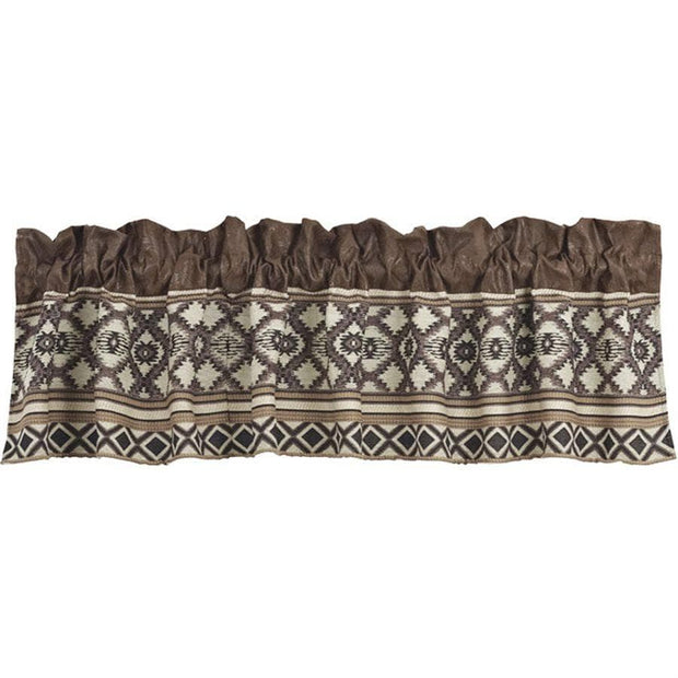 Tucson Chocolate & Taupe Western Kitchen Valance
