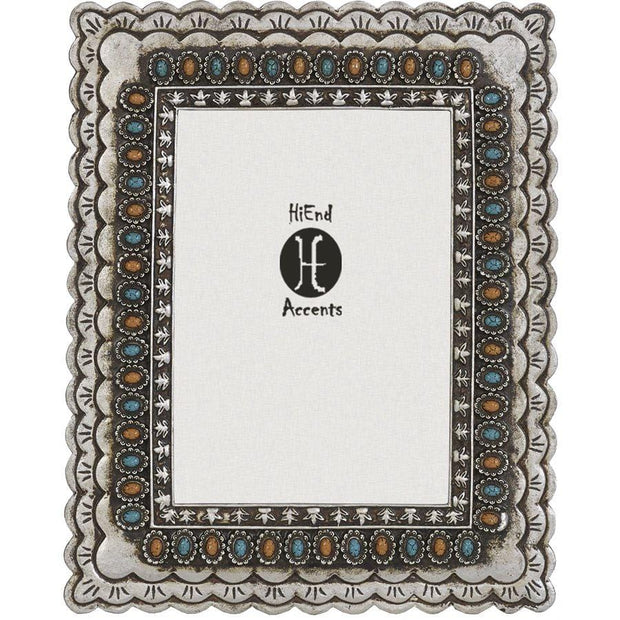 Turquoise & Amber Jeweled Picture Frame, 5x7