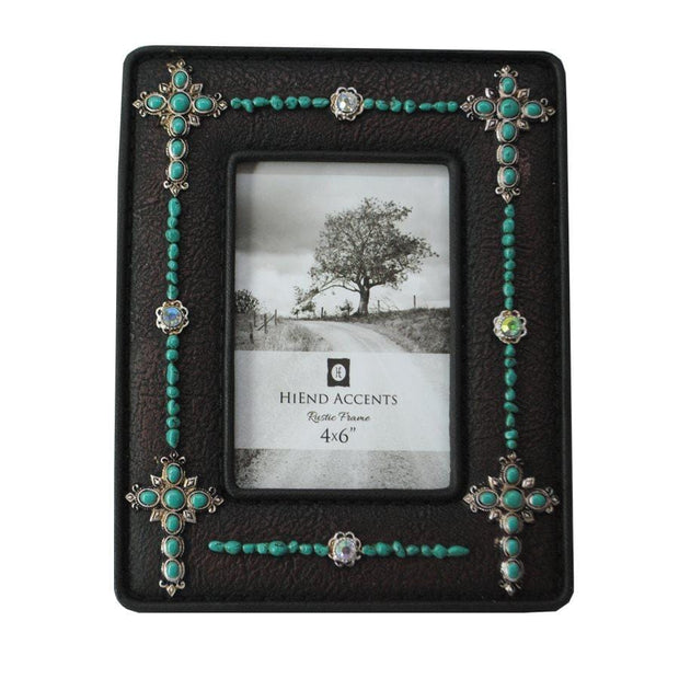 Turquoise Crosses Jeweled Picture Frame, 4x6