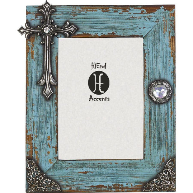 Turquoise Distressed Wood Picture Frame w/ Cross, 5x7
