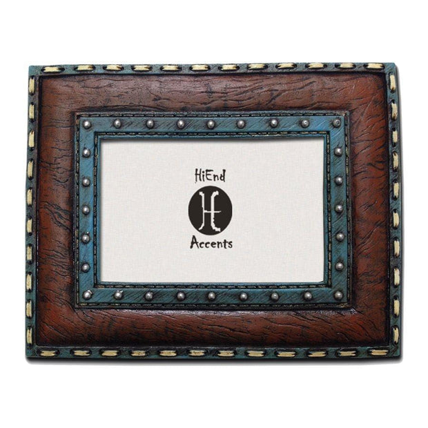 Turquoise Edge w/ Stitching Leather Insert Picture Frame, 4x6