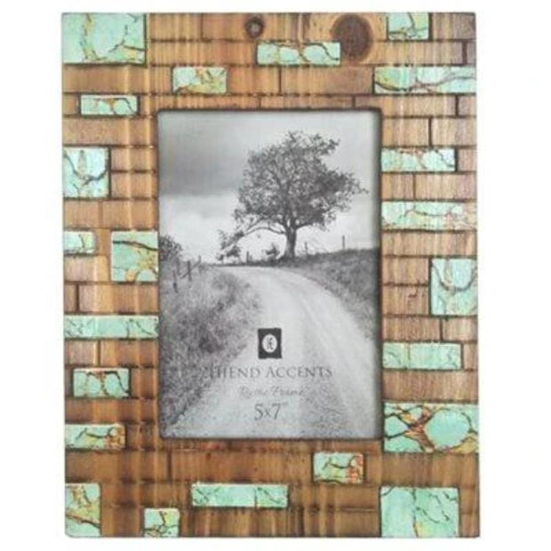 Turquoise Inlay Rustic Picture Frame, 5x7