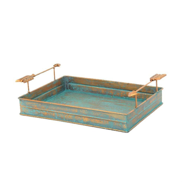 Turquoise Patina Metal Tray w/ Arrow Handles