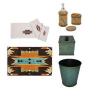 Turquoise Inlay 10 PC Bath Accessary and Mesa Towel Set