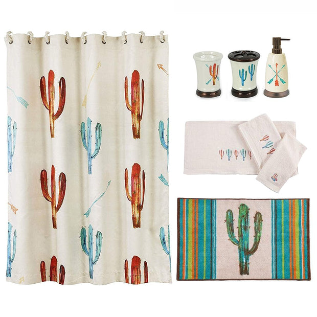 Cactus 8-PC Bath Accessary and Cream Towel Set