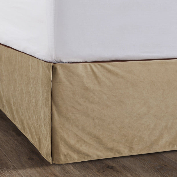 "Velvet Bedskirt, Tan (16""/18"" Drop)-Bed Skirt-HiEnd Accents"