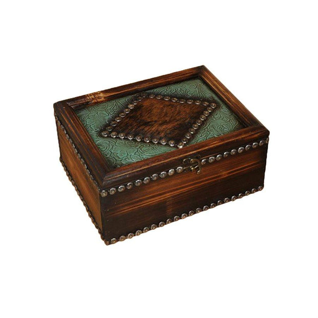 Trinket Box w/ Tooled Faux Leather & Genuine Hide Accents