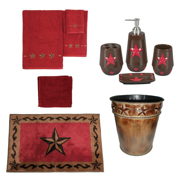 Red Star 13 PC Bath Accessary and Towel Set