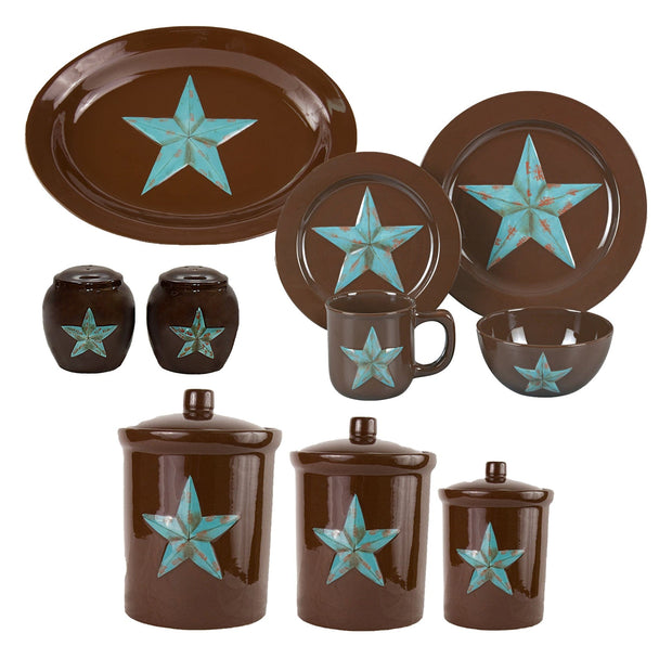 Star 22 PC Dinnerware and Canister Set, Turquoise